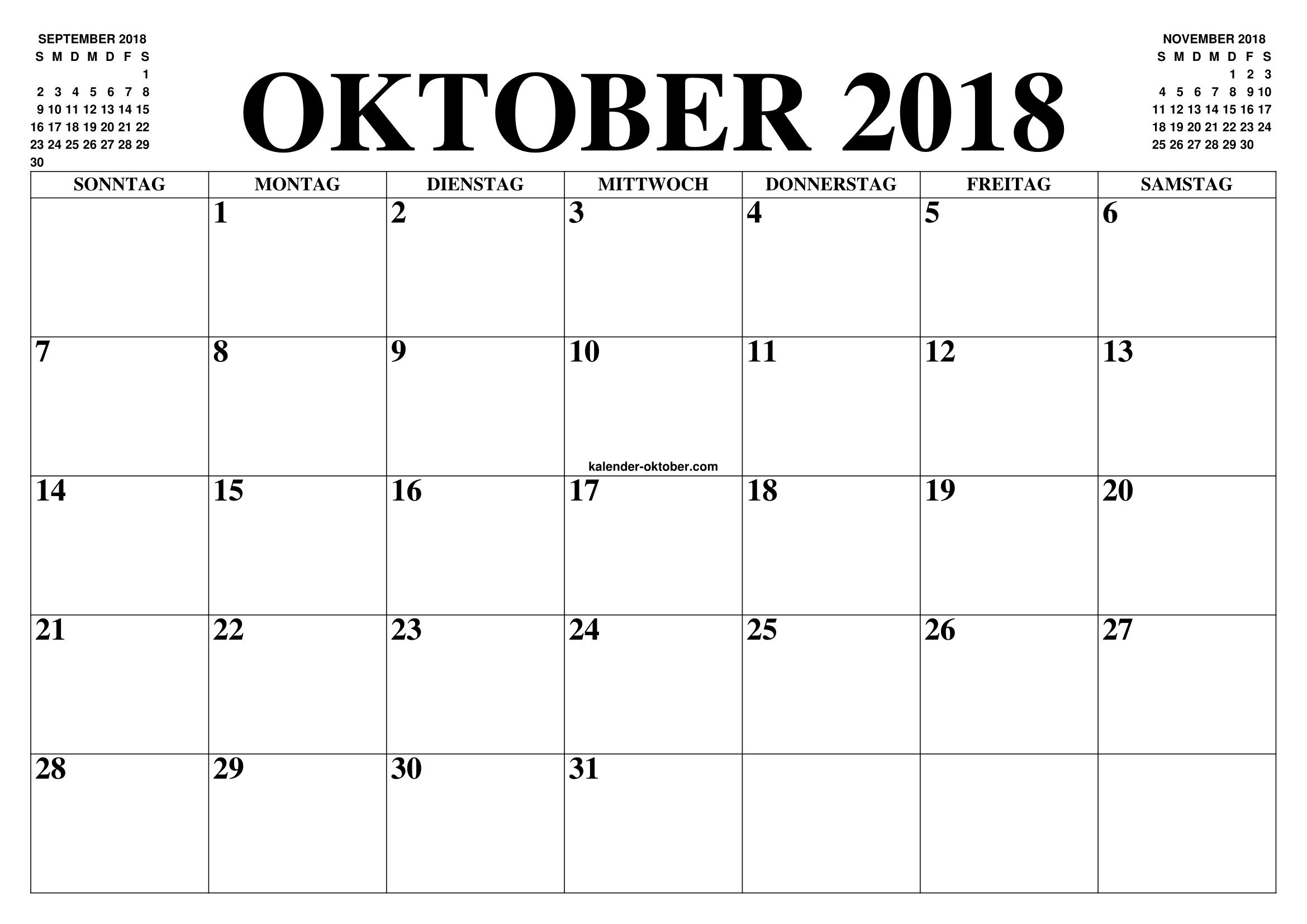 kalender oktober 2018 oktober 2018 2019 2019 kalender zum ausdrucken gratis monat und jahr. Black Bedroom Furniture Sets. Home Design Ideas